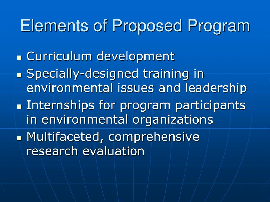 Elements of Proposed Program