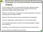 example of environmental governance criteria