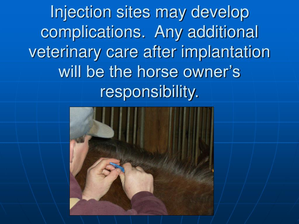 Injection sites may develop complications.  Any additional veterinary care after implantation will be the horse owner's responsibility.