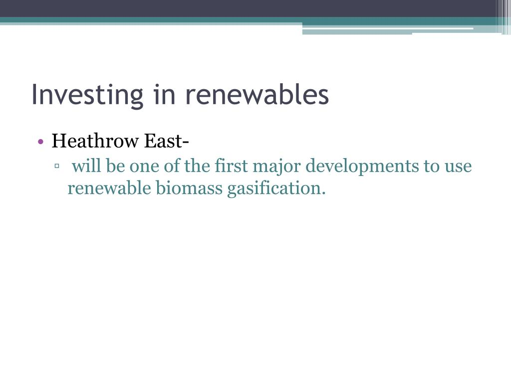 Investing in renewables