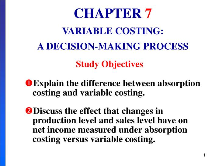 a significant difference between absorption costing Variable costing versus absorption costing absorption costing applies all manufacturing overhead to production costs while they flow through work-in-process inventory what is the difference between marginal costing and absorption costing only headings.