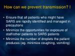 how can we prevent transmission i