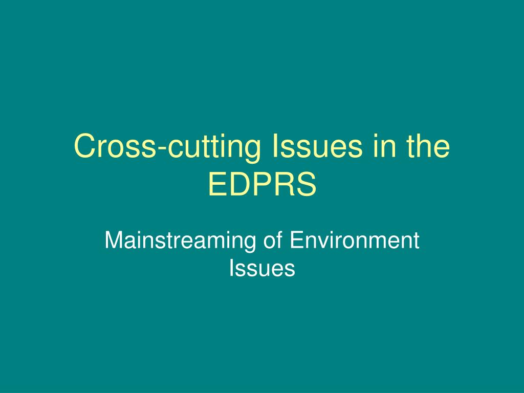 cross cutting issues in the edprs l.