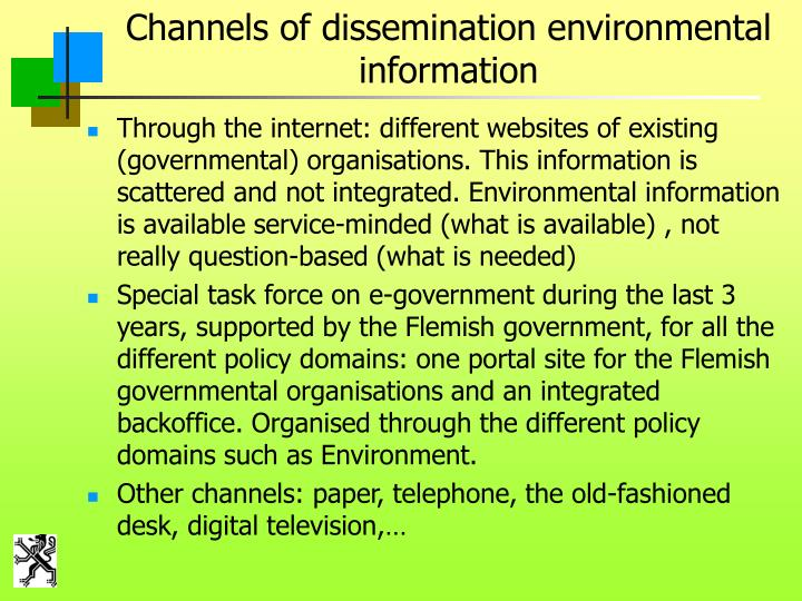 Channels of dissemination environmental information