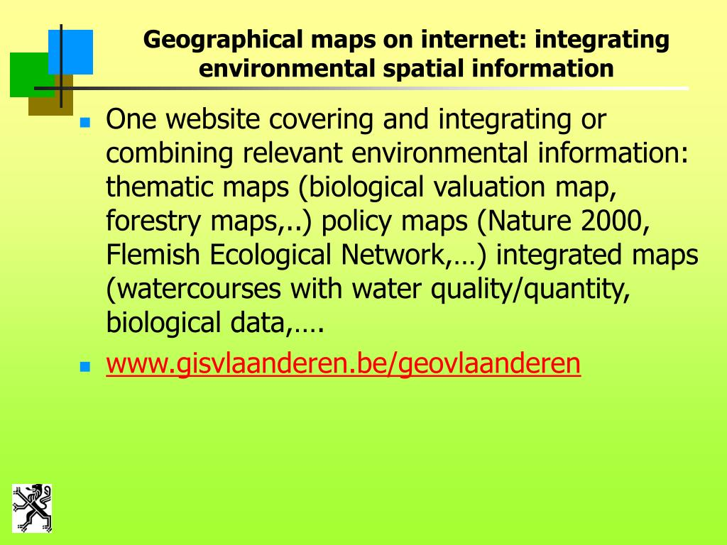 Geographical maps on internet: integrating environmental spatial information
