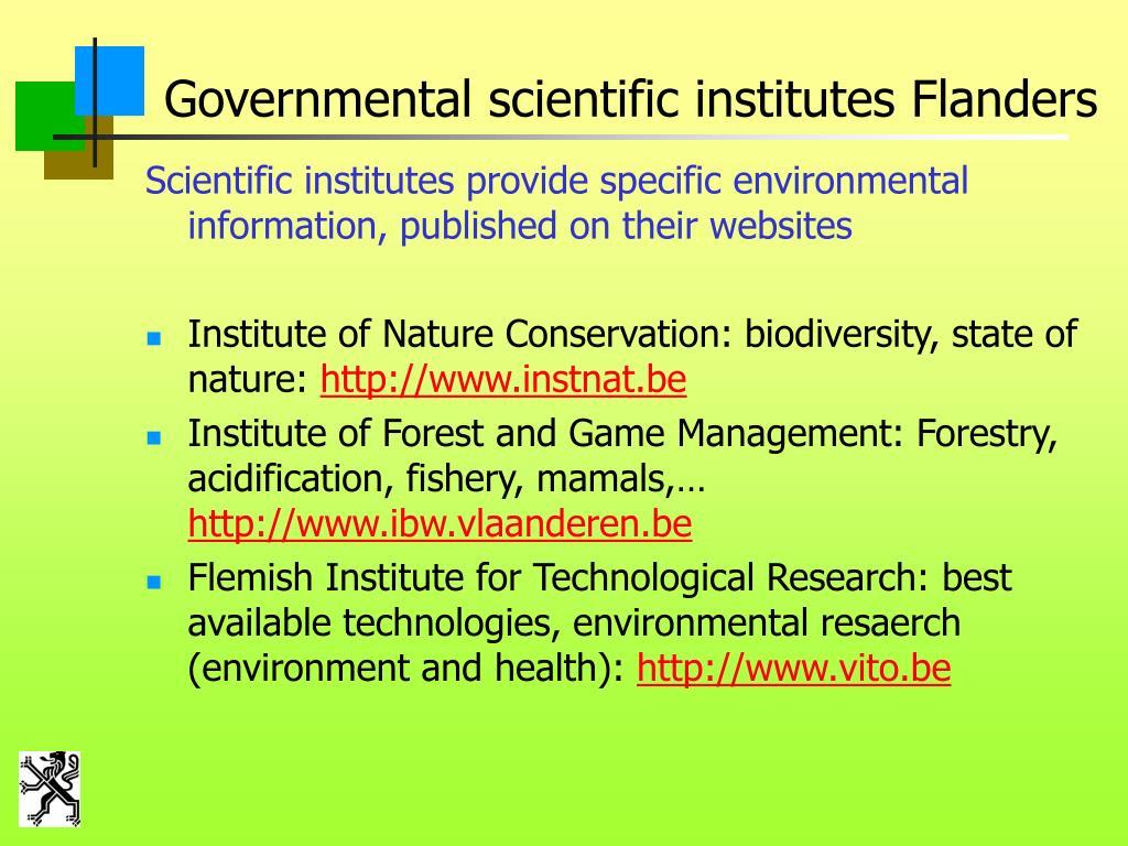 Governmental scientific institutes Flanders