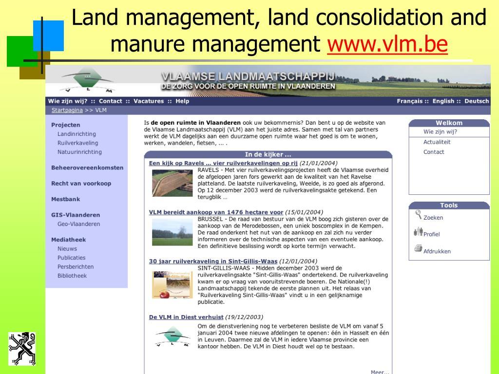 Land management, land consolidation and manure management