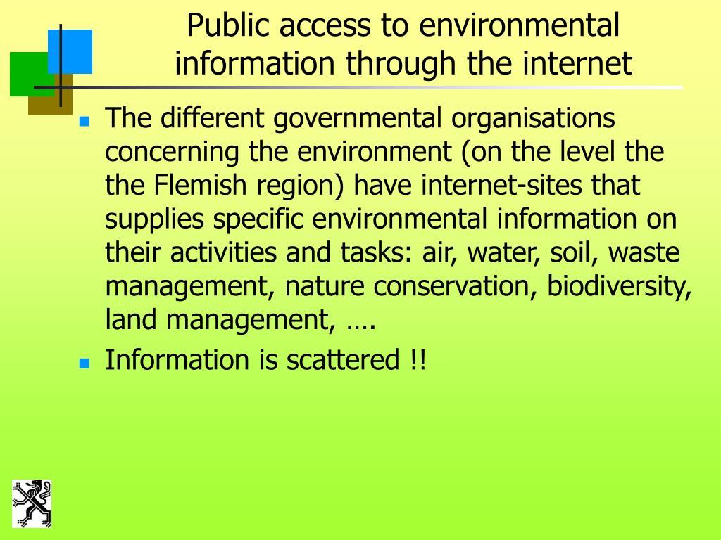 Public access to environmental information through the internet