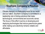 southern company s position