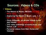 sources videos cds