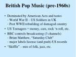 british pop music pre 1960s