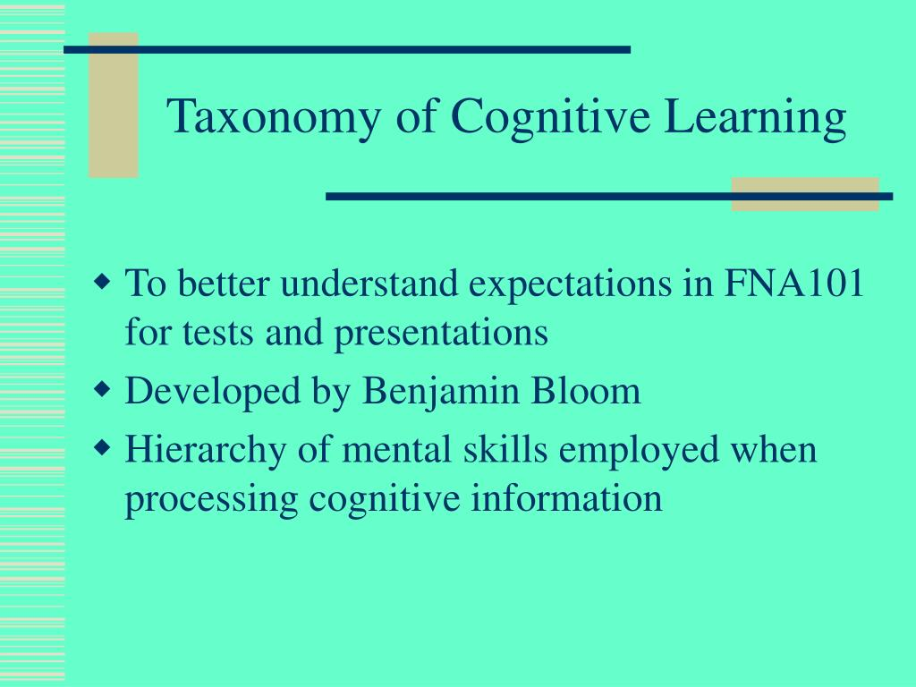 Taxonomy of Cognitive Learning