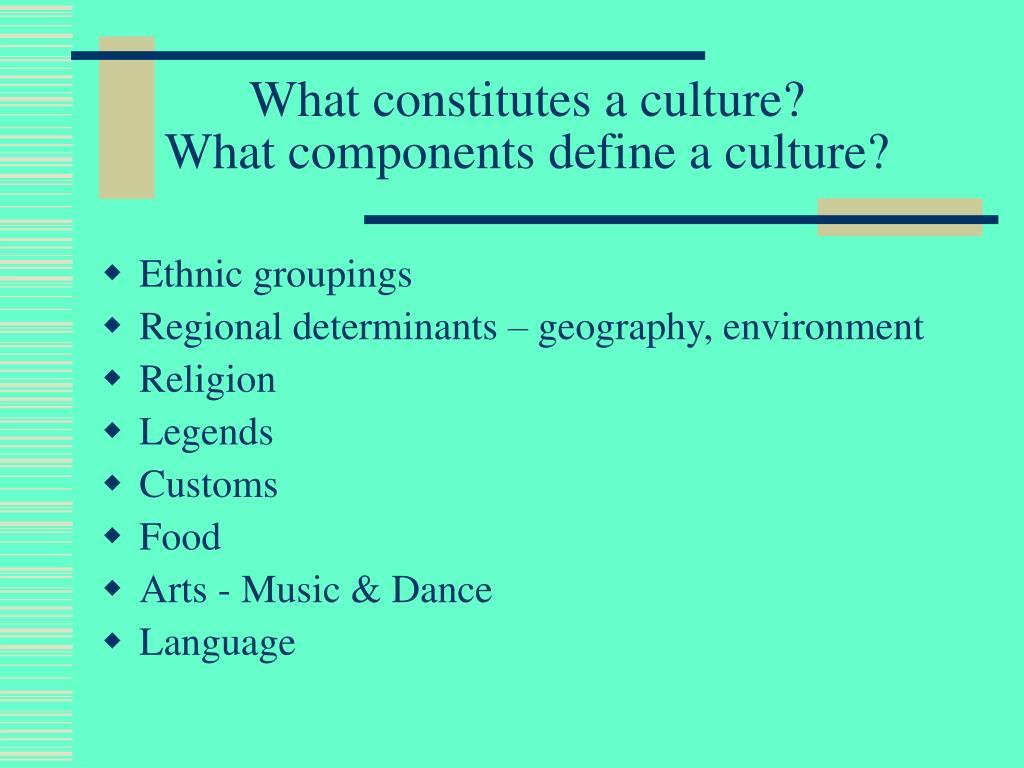 what constitutes a culture what components define a culture l.