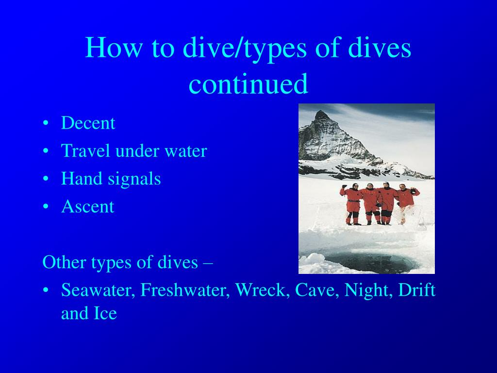 How to dive/types of dives continued