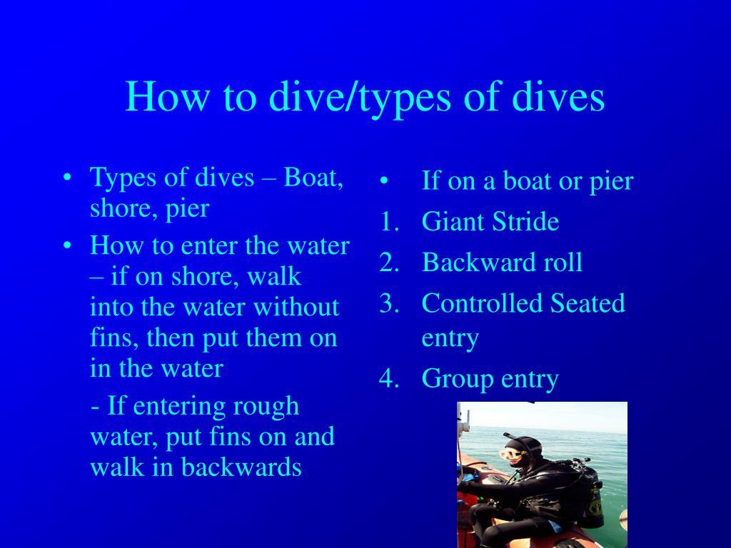 Types of dives – Boat, shore, pier