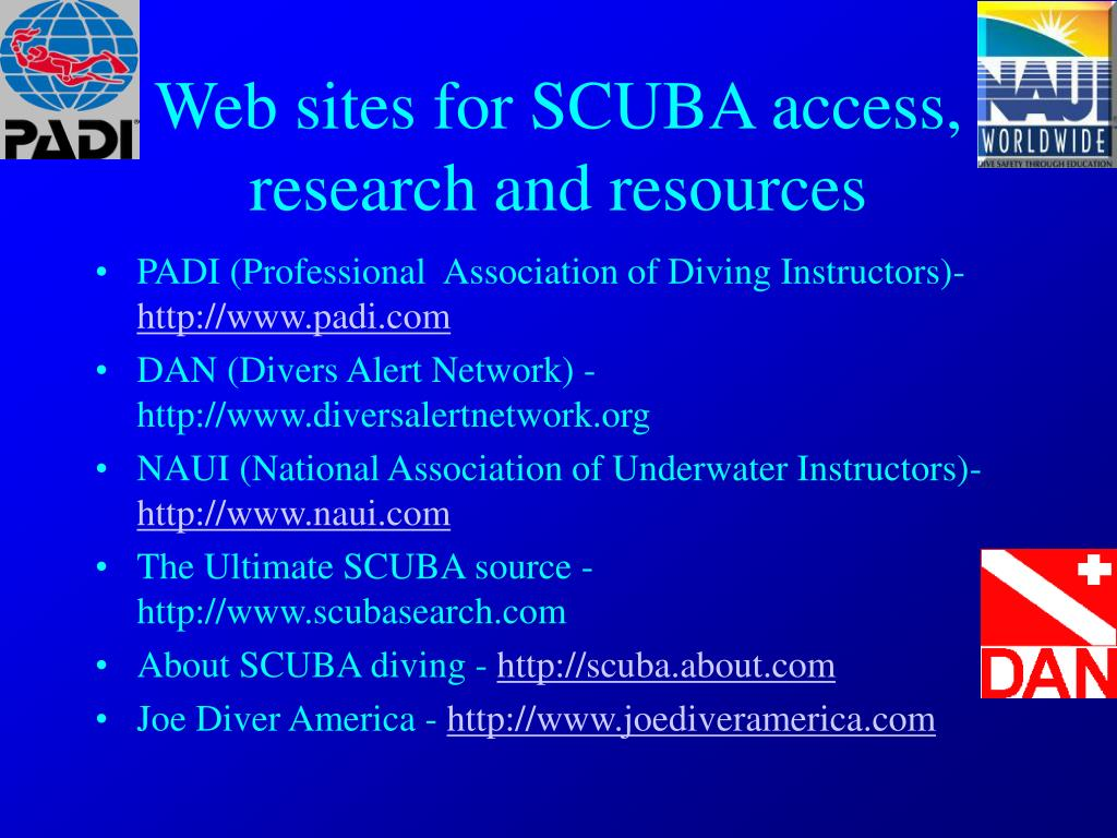 Web sites for SCUBA access, research and resources