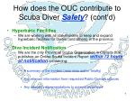 how does the ouc contribute to scuba diver safety cont d
