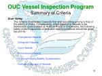 ouc vessel inspection program summary of criteria