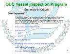 ouc vessel inspection program summary of criteria31