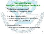 transport canada transport of dangerous goods act