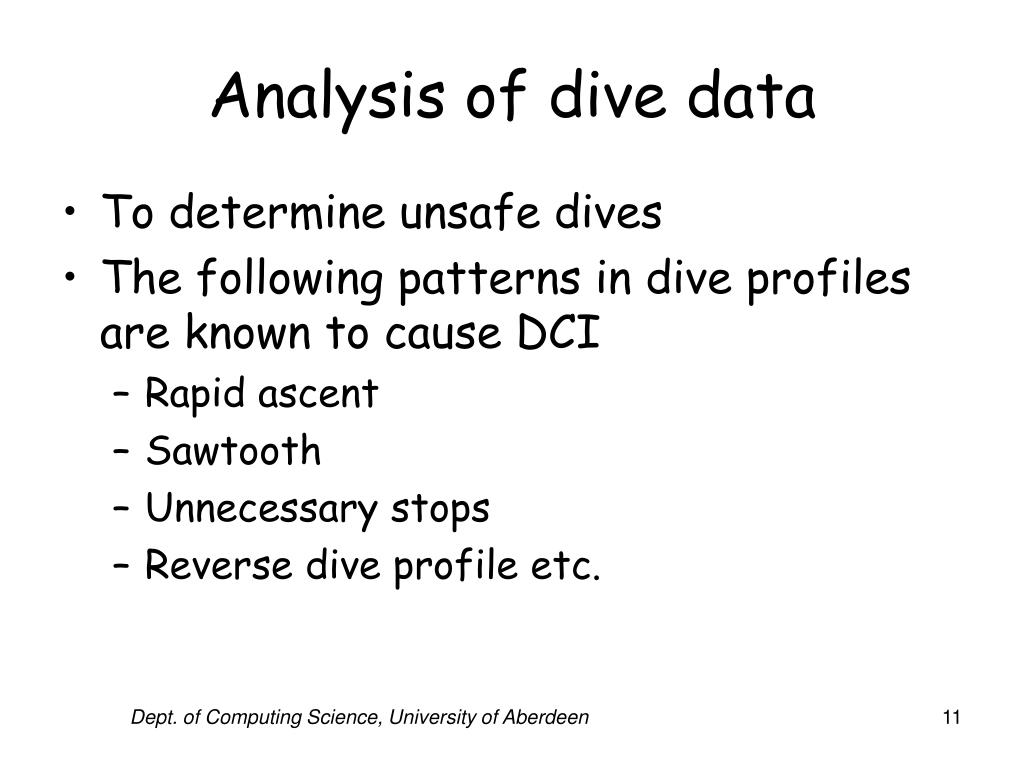 Analysis of dive data