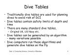 dive tables