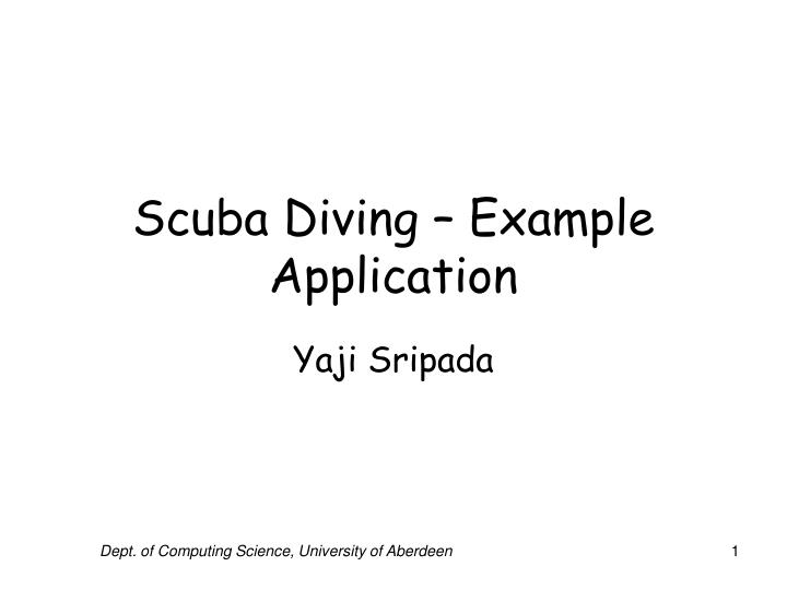 Scuba diving example application