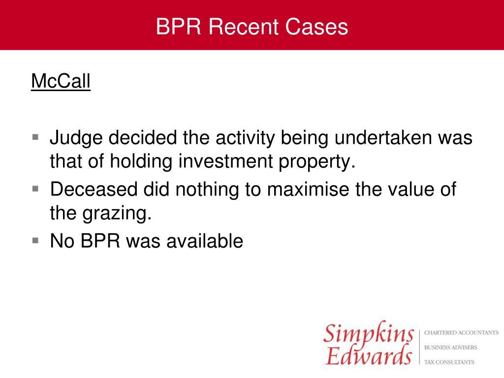 BPR Recent Cases
