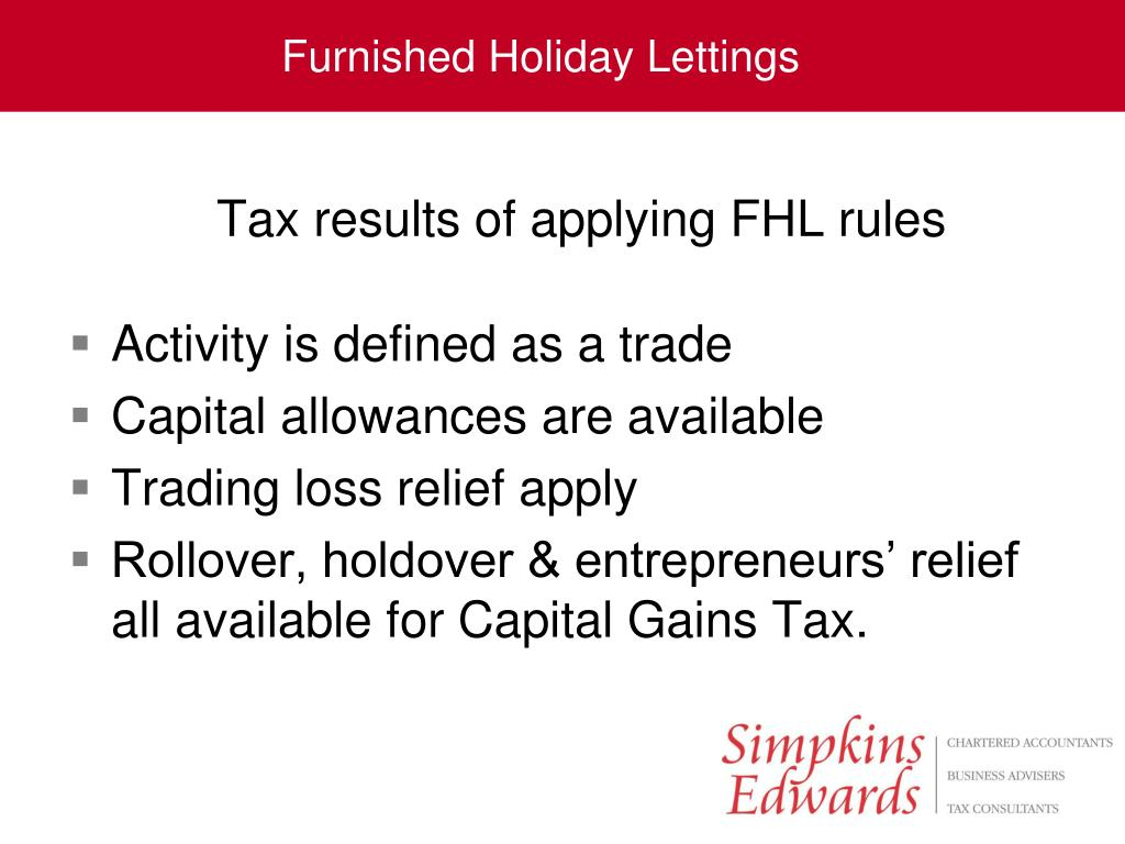 Tax results of applying FHL rules