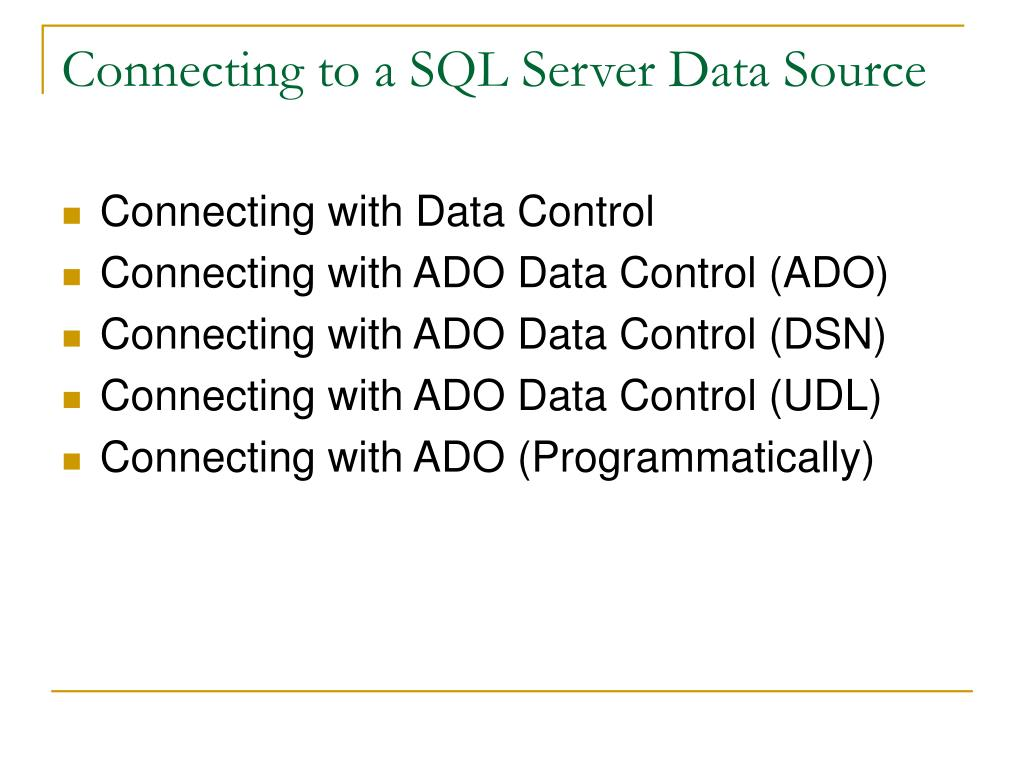 Connecting to a SQL Server Data Source