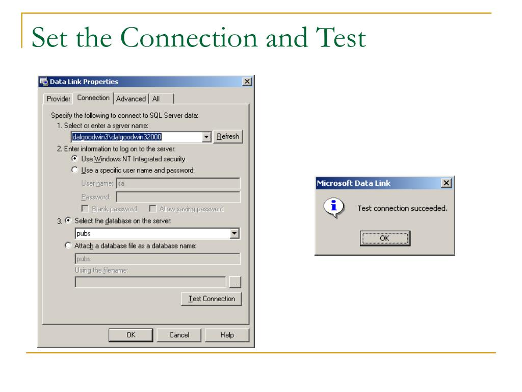 Set the Connection and Test