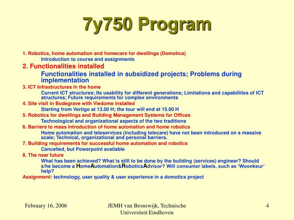 7y750 Program