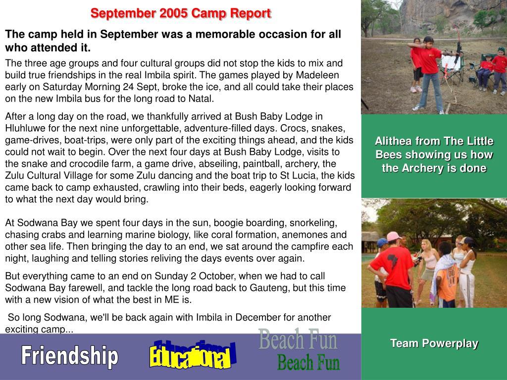 September 2005 Camp Report