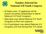 number selected for national 4 h youth congress