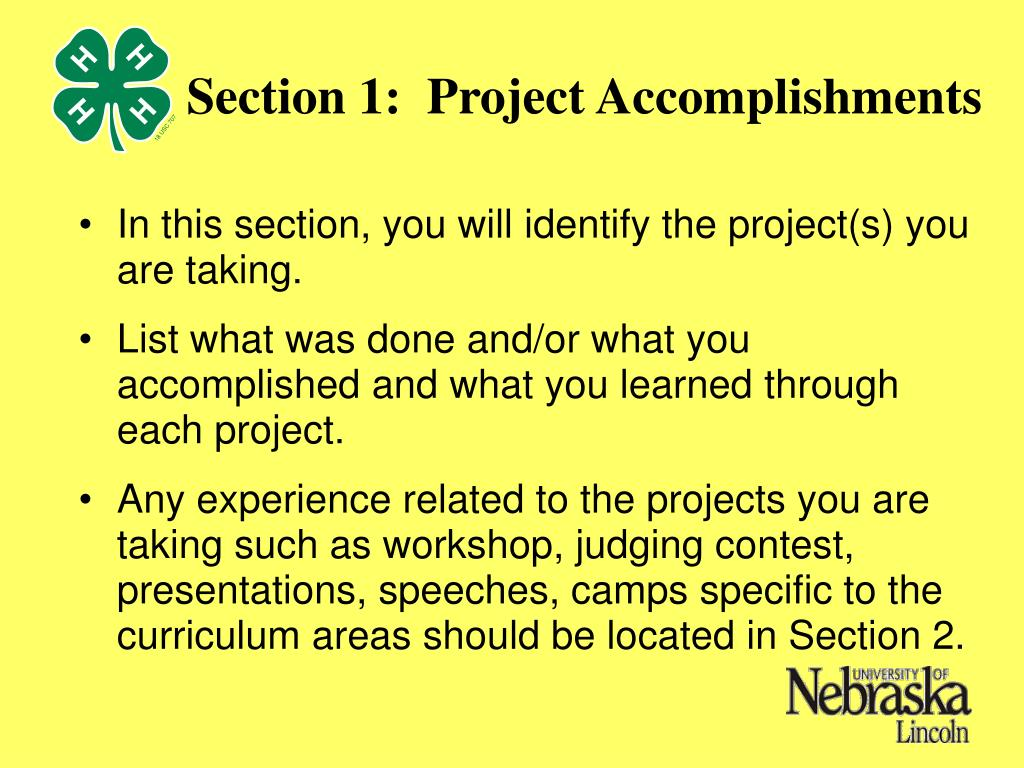 Section 1:  Project Accomplishments