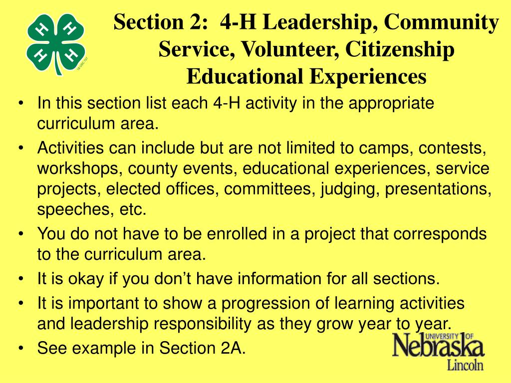 Section 2:  4-H Leadership, Community Service, Volunteer, Citizenship Educational Experiences