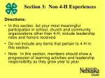 section 3 non 4 h experiences