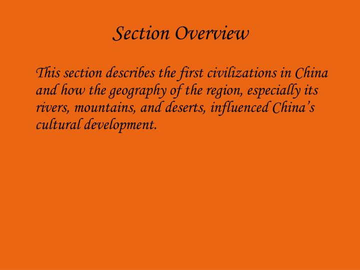 Section overview