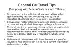general car travel tips complying with federal state law or ut rules