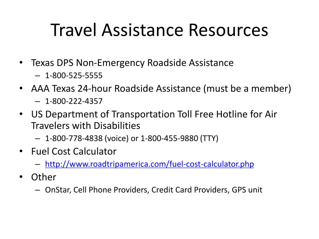Travel Assistance Resources