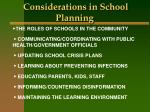 considerations in school planning