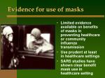 evidence for use of masks