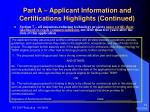 part a applicant information and certifications highlights continued14