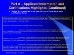 part a applicant information and certifications highlights continued15