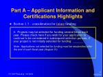 part a applicant information and certifications highlights