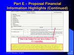 part e proposal financial information highlights continued24