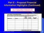part e proposal financial information highlights continued26