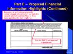 part e proposal financial information highlights continued27
