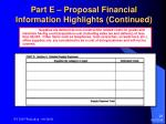 part e proposal financial information highlights continued28