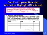 part e proposal financial information highlights continued30